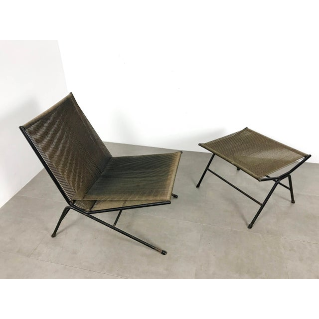 Allan Gould Allan Gould String Lounge Chair & Ottoman 1952 For Sale - Image 4 of 11