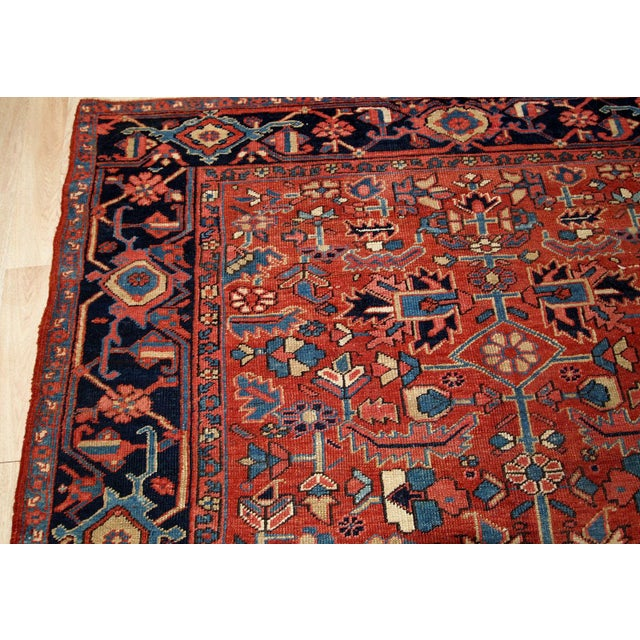 Textile 1900s, Handmade Antique Persian Heriz Rug For Sale - Image 7 of 11