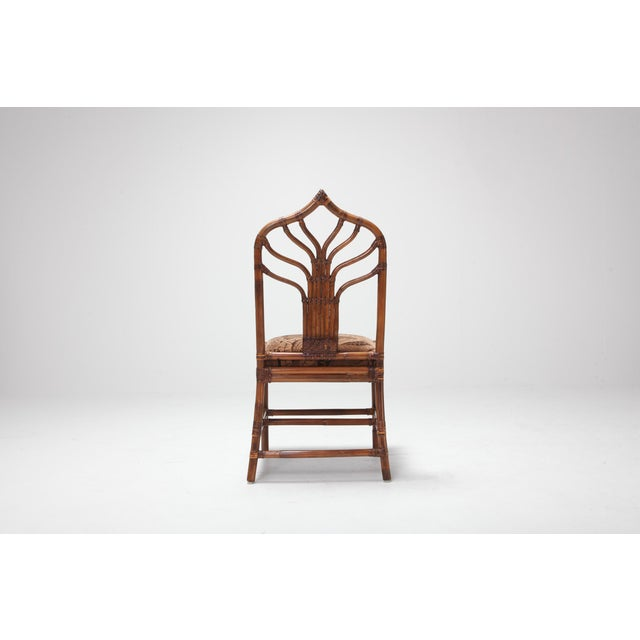 Regency Set of Italian Bamboo Dining Chairs With Floral Cushions For Sale - Image 4 of 13