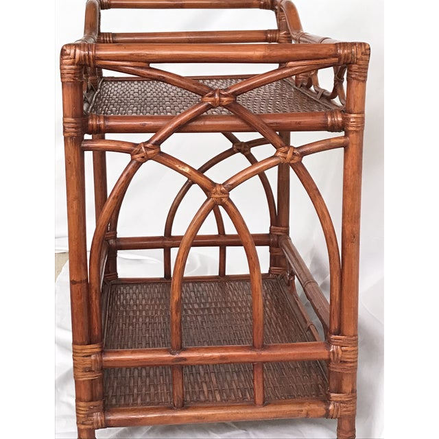 Vintage Rattan Bamboo Bar Cart For Sale - Image 10 of 10