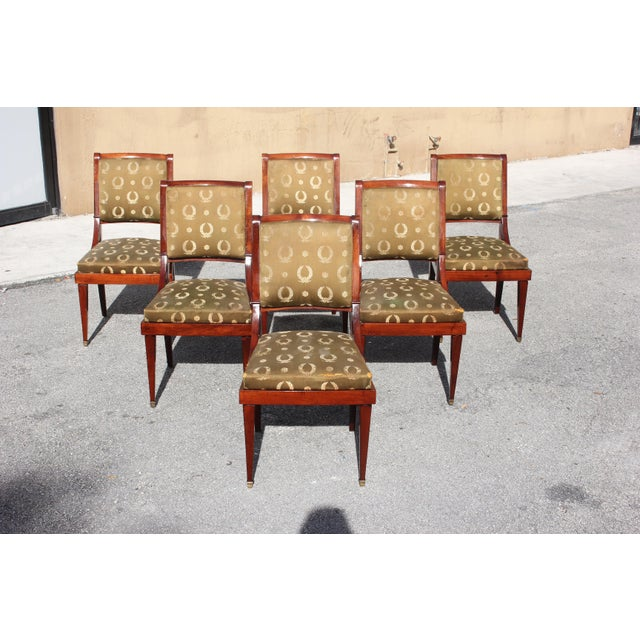 1910s Vintage French Empire Solid Mahogany Dining Chairs - Set of 6 For Sale - Image 13 of 13