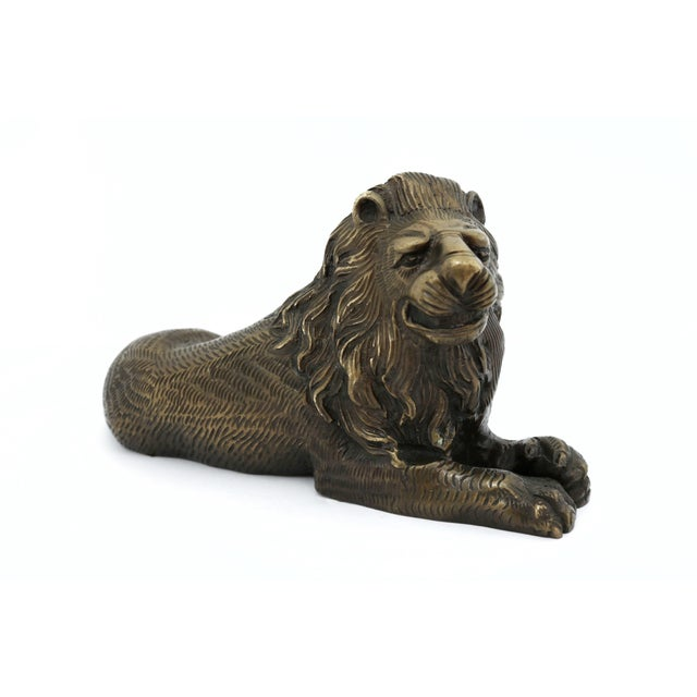 Bronze Vintage Bronze Lion Figurine For Sale - Image 8 of 8