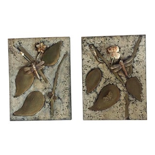 1970s Brutalist Brass Metal Cut-Out Wall Sculpture Art With Dragonflies - a Pair For Sale