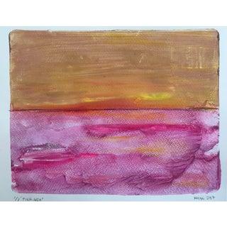 Pink Sea Handmade Monotype Painting