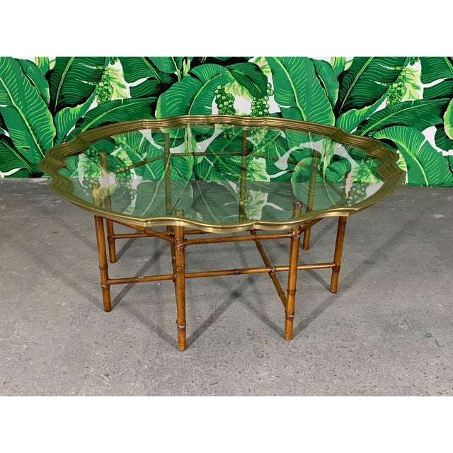 Mid-Century Modern Faux Bamboo Coffee Table With Brass and Glass Top For Sale - Image 3 of 8