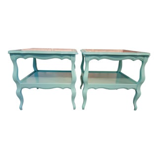 1970s Boho Chic Coastal Chic Side Tables - a Pair For Sale