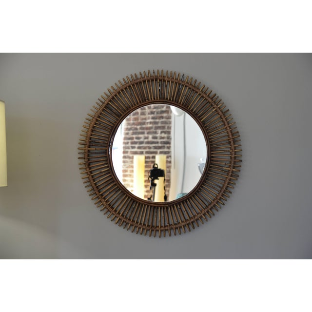 """Contemporary """"Oculus"""" Round Rattan Mirrors - a Pair For Sale In Los Angeles - Image 6 of 7"""