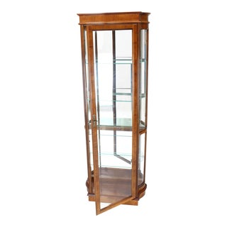 Tall Narrow Walnut and Mahogany Curved Glass Curio Cabinet For Sale
