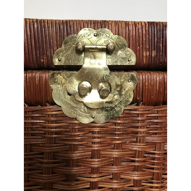 Vintage Brass and Wicker Trunk For Sale - Image 4 of 10