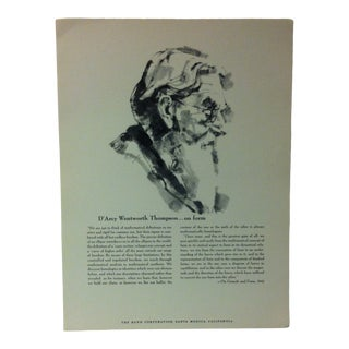 """1962 """"D'arcy Wentworth Thompson - on Form"""" The Rand Corporation Famous People in History Print For Sale"""