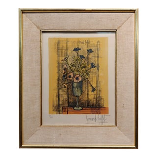 Bernard Buffet - Still Life of Flowers in a Glass -Original Lithograph-Pencil Signed For Sale