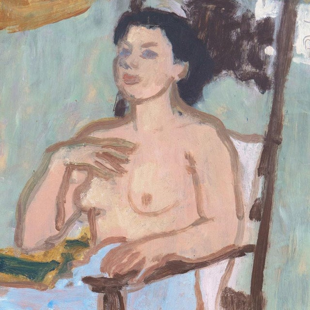"""Oil painting on paper titled """"In the Artist's Studio"""" by listed artist Victor Di Gesu (American; 1914- 1988), dated circa..."""