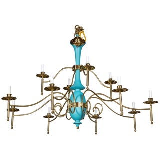 Large Department Store Chandelier, Robin's Egg Blue and Brass For Sale