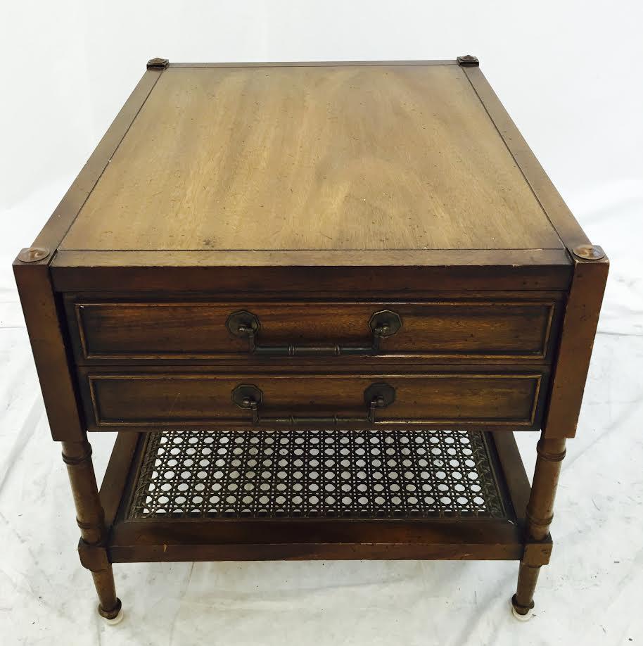 Vintage Hickory Furniture Cane Shelf Side Table   Image 4 Of 9