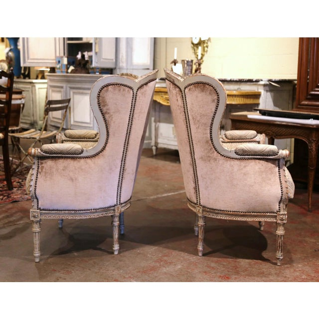 19th Century Louis XVI Carved and Painted Ear Shape Fauteuils - a Pair For Sale - Image 9 of 13
