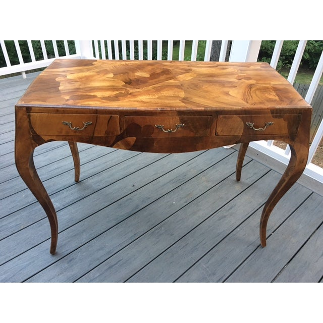 French Mahogany Burlwood Veneer Desk - Image 2 of 11