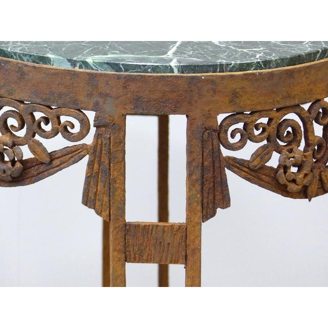 Marble French Art Deco Wrought Iron Marble Top Tables by Paul Kiss - A Pair For Sale - Image 7 of 11