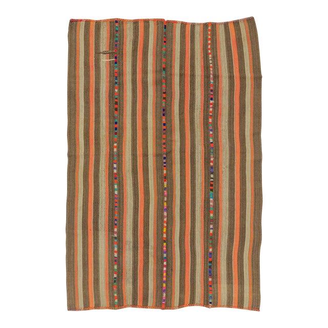Vintage Brown and Orange Striped Decorative Turkish Kilim Rug - 4′9″ × 7′3″ - Image 1 of 6