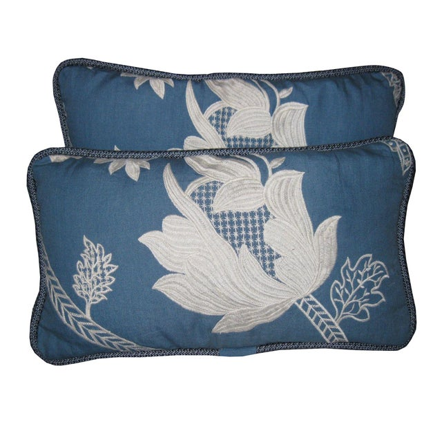 Blue & White Embroidered Pillows - a Pair - Image 1 of 3