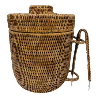 Vintage Woven Ice Bucket & Tong Set For Sale