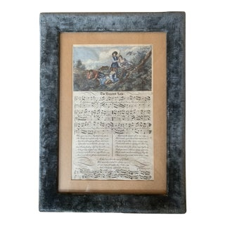 18th C. English Sheet Music Engraving in a Vintage Velvet Frame For Sale