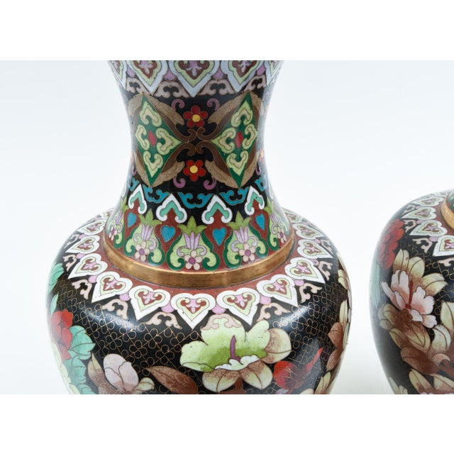Mid-20th Century Colorful Cloisonné Decorative Vases - a Pair For Sale In New York - Image 6 of 13