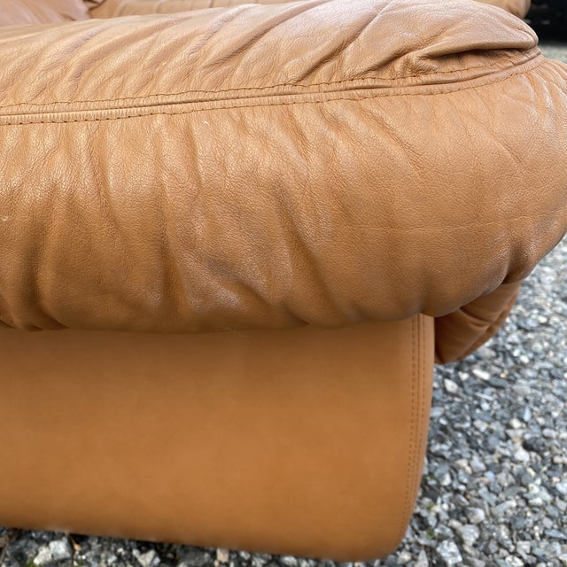 Brown Oversized Italian Leather Club Chairs - a Pair For Sale - Image 8 of 13