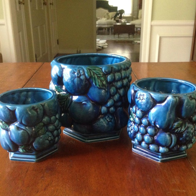 Blue Inarco Japanese Pottery Planters - Set of 3 For Sale - Image 8 of 11