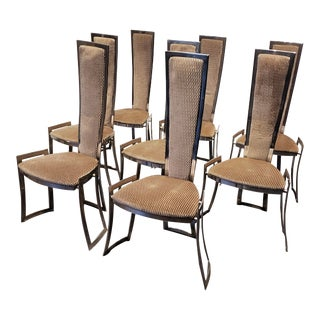Adrian Pearsall Steel High Back Dining Chairs Set of 8 For Sale