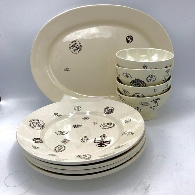 Arts & Crafts Sir/Madam Maker's Mark Themed Tableware - 4 Bowls, 4 Dinner Plates, 1Platter -- Set of 9 For Sale - Image 3 of 7