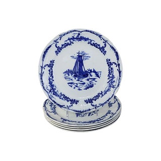 Antique Flow Blue Nautical Plates - Set of 5