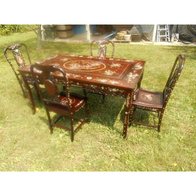 Mother of Pearl Inlay Asian Dining Set - Image 2 of 11