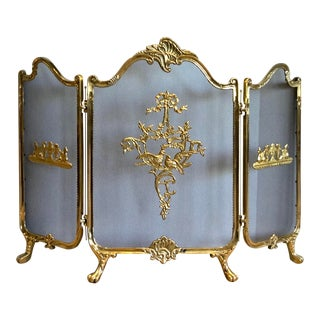 Victorian Folding Cast Brass Fireplace Screen For Sale