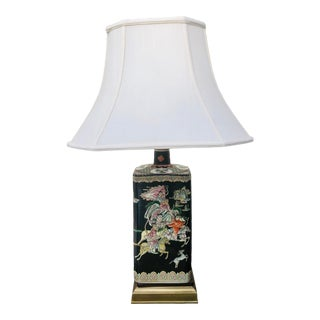 Famille Noire Chinoiserie Lamp Maitland Smith For Sale
