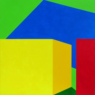 Martha Hughes, Scene 216 - Pool and Cabanas, Geometric, Green, Blue, Yellow, Red, Acrylic Painting, 12x12 For Sale