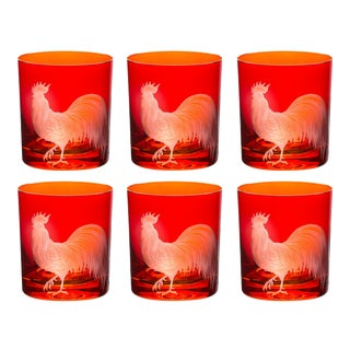 Farm Rooster Double Old Fashioned Glasses Burnt Orange - Set of 6 For Sale