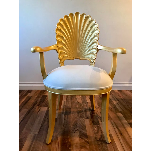 Mid Century Hollywood Regency Venetian Grotto Shell Gold Carved Arm Chairs- Set 6 For Sale - Image 4 of 12