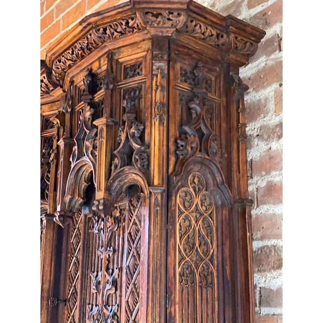 Gothic Revival Oak Cupboard Heavily Carved, circa 1850 For Sale - Image 10 of 13