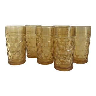 Vintage Amber Thumbprint Tumblers - Set of 6 For Sale
