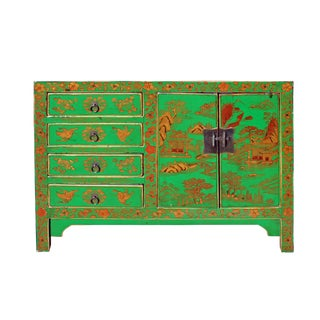 Distressed Green Golden Scenery Butterflies Drawers Storage Cabinet For Sale