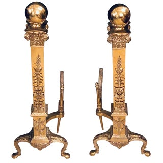 Fine Pair of Large and Impressive Louis XVI Style Brass and Irons For Sale