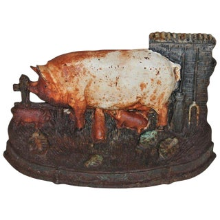 19th Century Original Painted Pig Door Stop For Sale