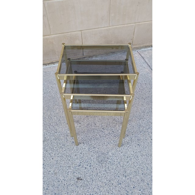 Hollywood Regency Brass & Smoke Glass Nesting Tables - Set of 3 - Image 8 of 9