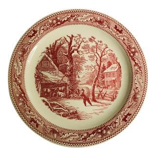 """Vintage Ironstone Pink & Off White Serving Platter 12.5""""d For Sale"""