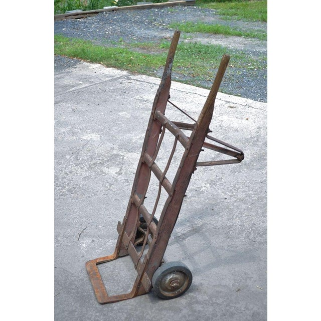 Item: Striking Antique Industrial Iron & Wood Hand truck Ideal for Conversion Into Modern Coffee Table. The piece will...