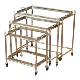 Set of Early 20th Century Silver Plated Over Brass Nesting Stacking Tables For Sale