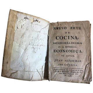 "18th 1st Edition of ""New Art of Cooking"" in Spanish by Juan Altamiras For Sale"