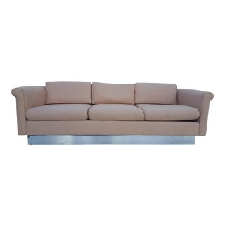 Milo Baughman Style Pink Fabric & Chrome Base Sofa