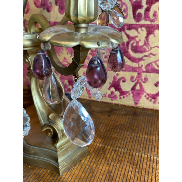French Girandoles With Crystals and Amethyst Drops - a Pair For Sale In Dallas - Image 6 of 12
