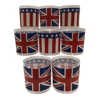 Georges Briard Old Glory Union Jack Glasses - Set of 8